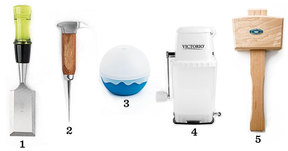 ice, cocktail ice, ice tools