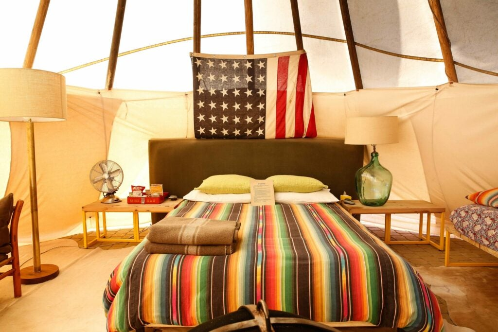 The teepees are comfortable too