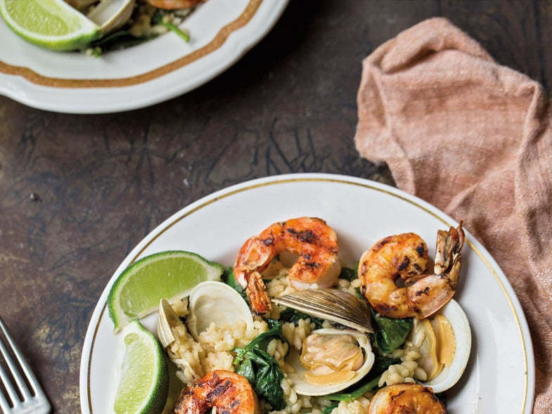 Clam Risotto with Grilled Shrimp