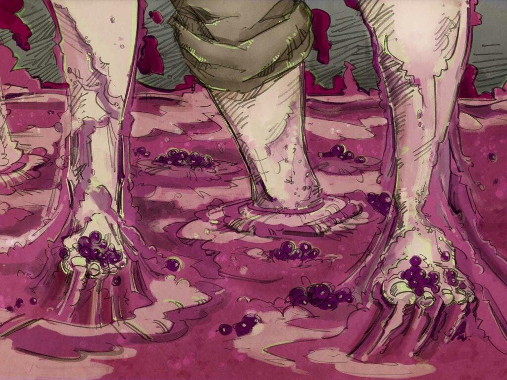 feet stomping grapes
