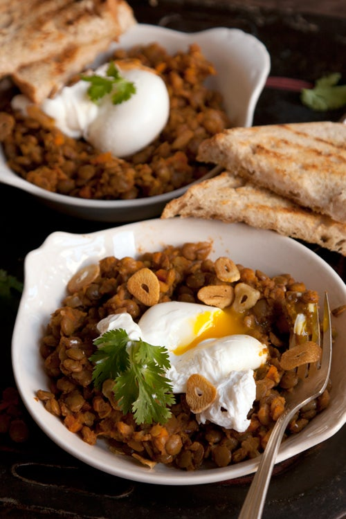 Curried Lentil with Poached Eggs