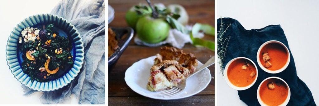 Apples, red gooseberries & thyme baked in a spelt pie