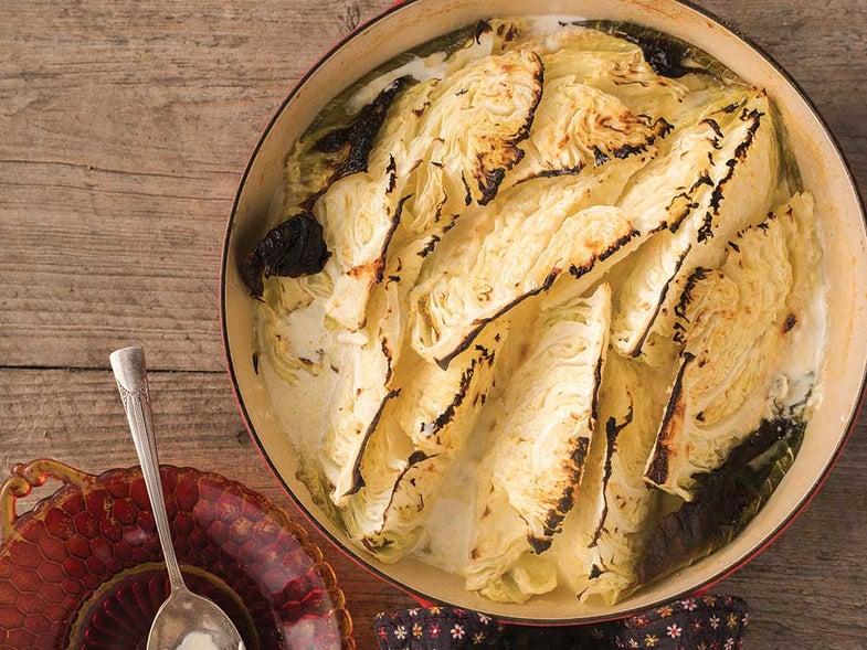 Roasted Cabbage with Horseradish Cream
