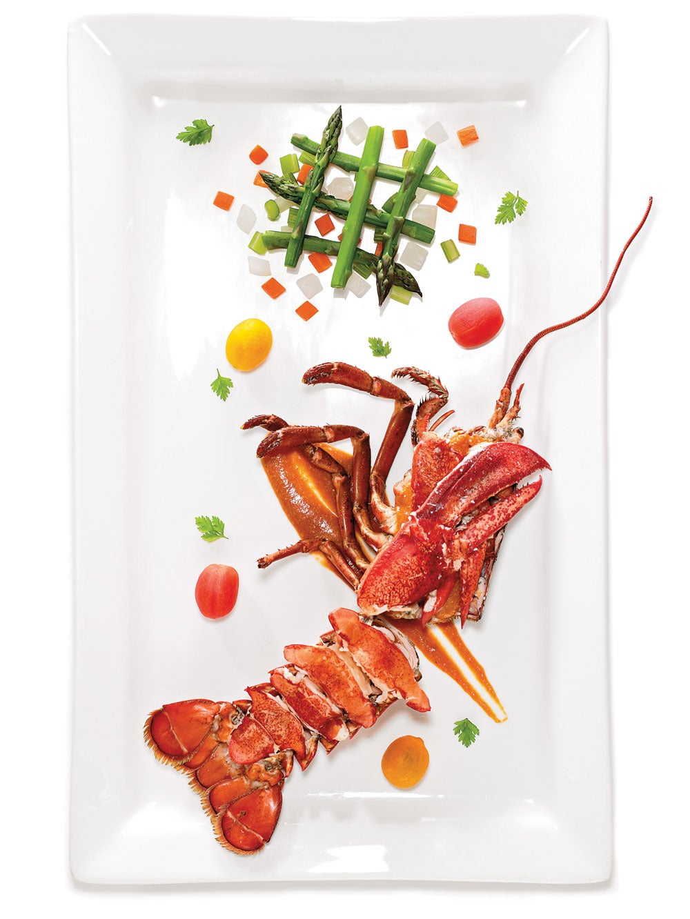 Lobster Américaine with Asparagus and Tomatoes