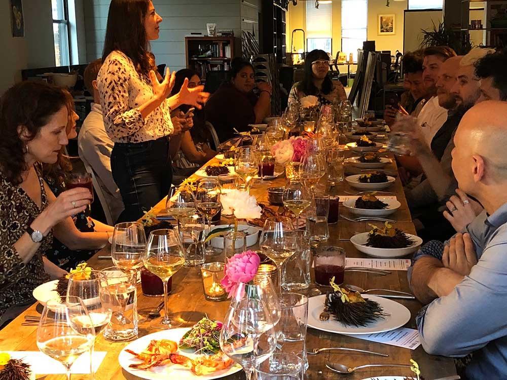 Executive editor Stacy Adimando introduces chef Jessi Singh.