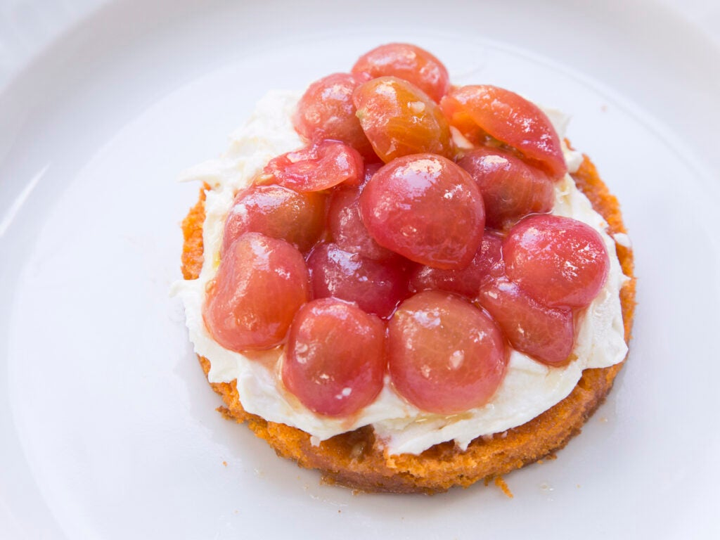 Tomato Cake with Smoked Feta Cream and Marinated Tomatoes