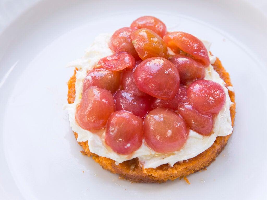 Tomato Cake with Smoked Feta Cream and Marinated Tomatoes