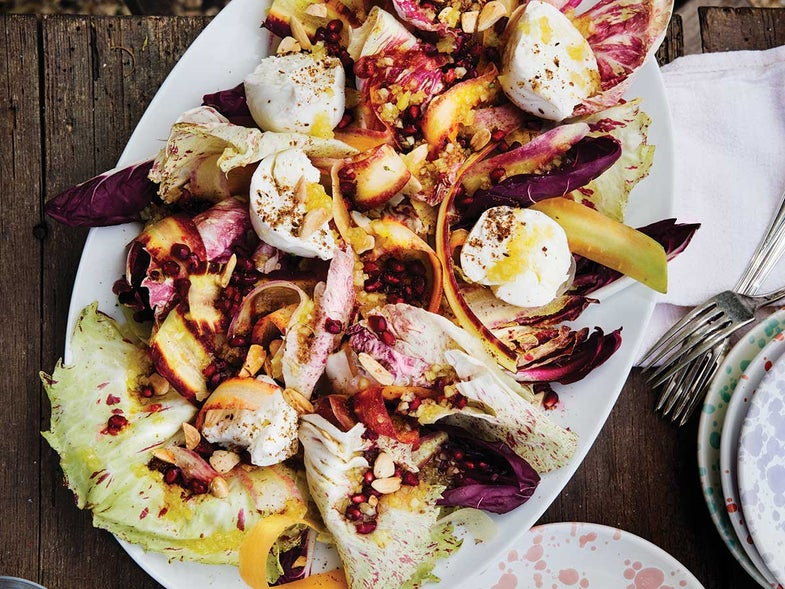 Radicchio and Polignano Carrot Salad with Burrata and Pomegranate