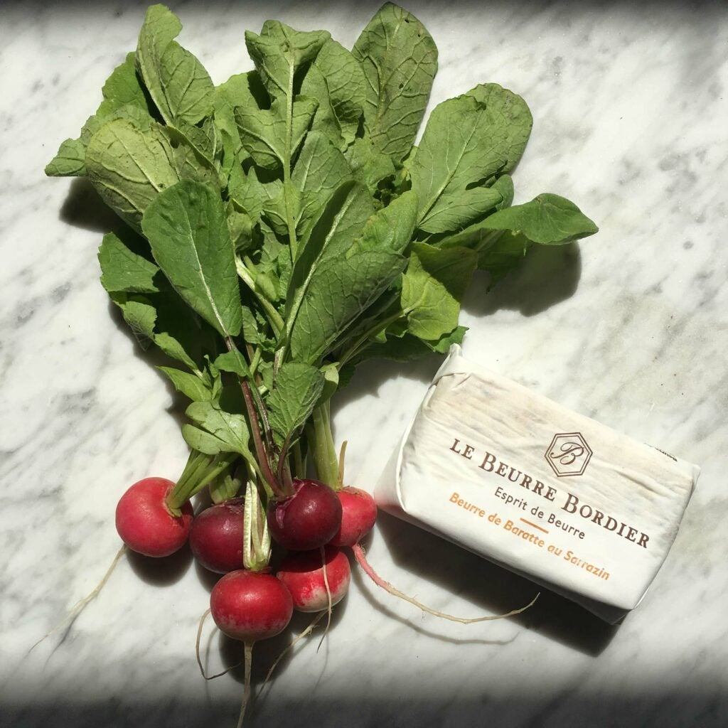 radish and le beurre bordier butter