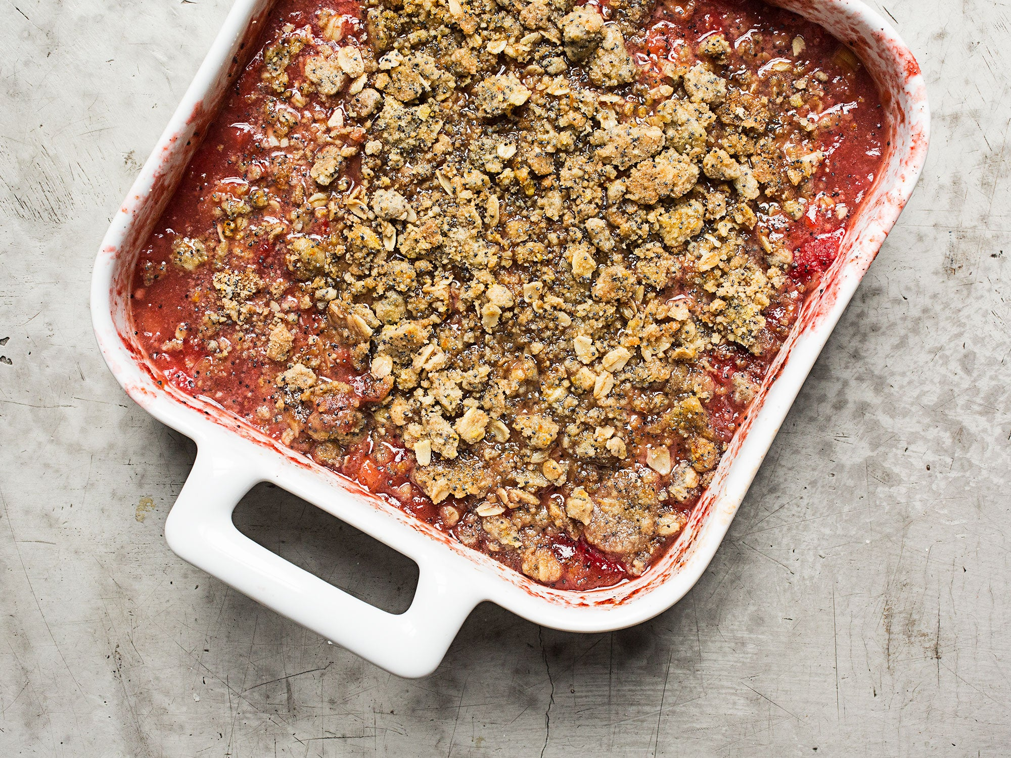 Wine-Poached Rhubarb and Poppy Seed Crisp