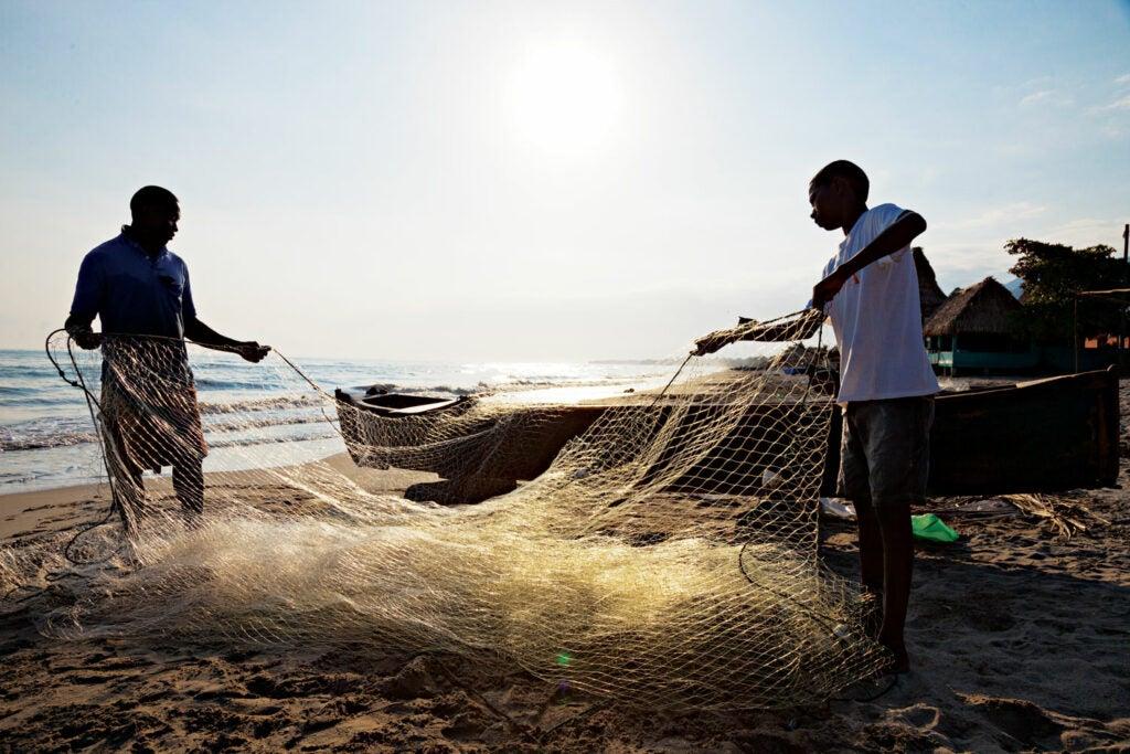 Garifuna fishermen in Corozal, Honduras