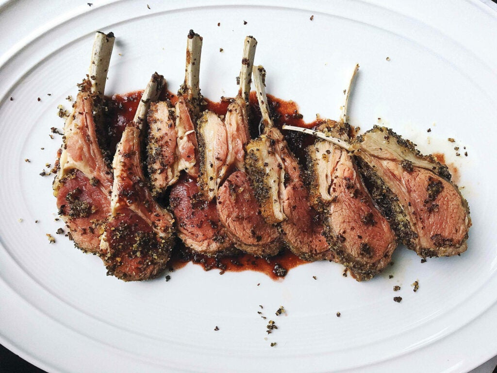 Seaweed-Crusted Rack of Lamb with Red Wine Sauce