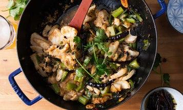 """Spicy Sichuan """"Water Boiled"""" Fish and Celery (Shui Zhu Yu)"""