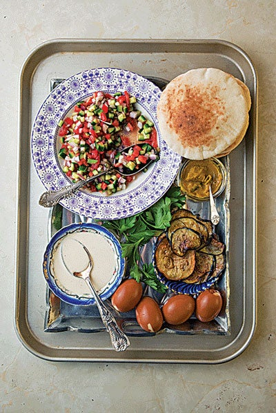 Eggplant and Cucumber Salad Sandwich