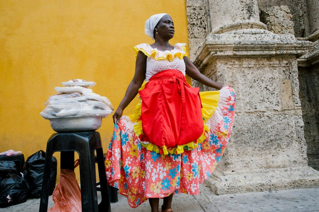 Palenque woman, sweets, Cartagena, Colombia.