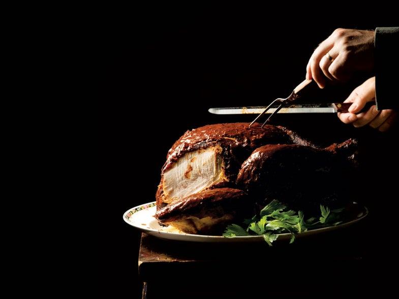 Chile-Rubbed Turkey with Beet Stuffing and Gravy