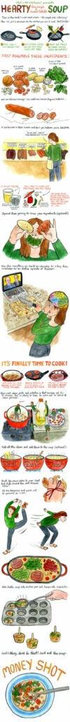 Hearty Sausage and Sweet Potato Soup comic strip recipe