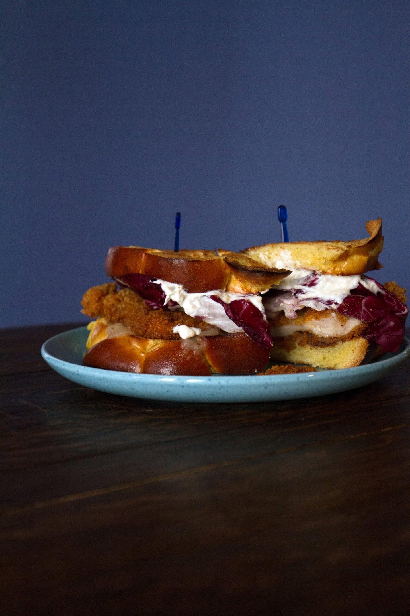 Chicken Schnitzel Sandwich with Horseradish Cream and Radicchio