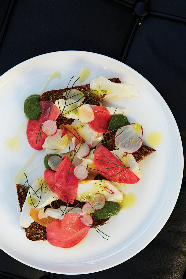 Open Faced Rye, Poached Red Snapper, Pickled Radish, and Salsa Verde Sandwich, Tasmania