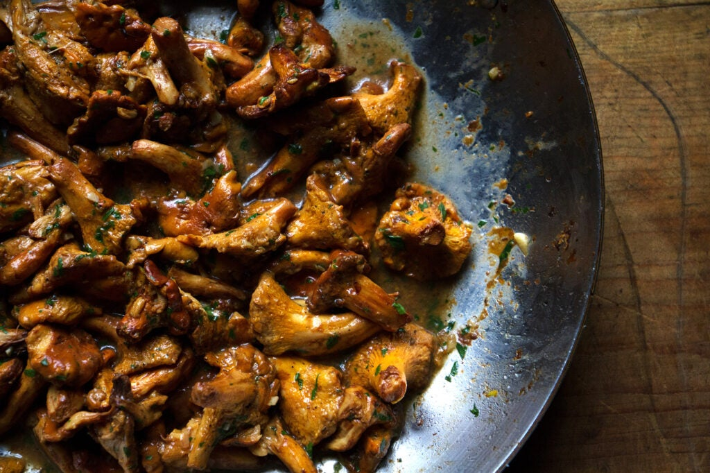 Chanterelle Mushrooms with Bacon