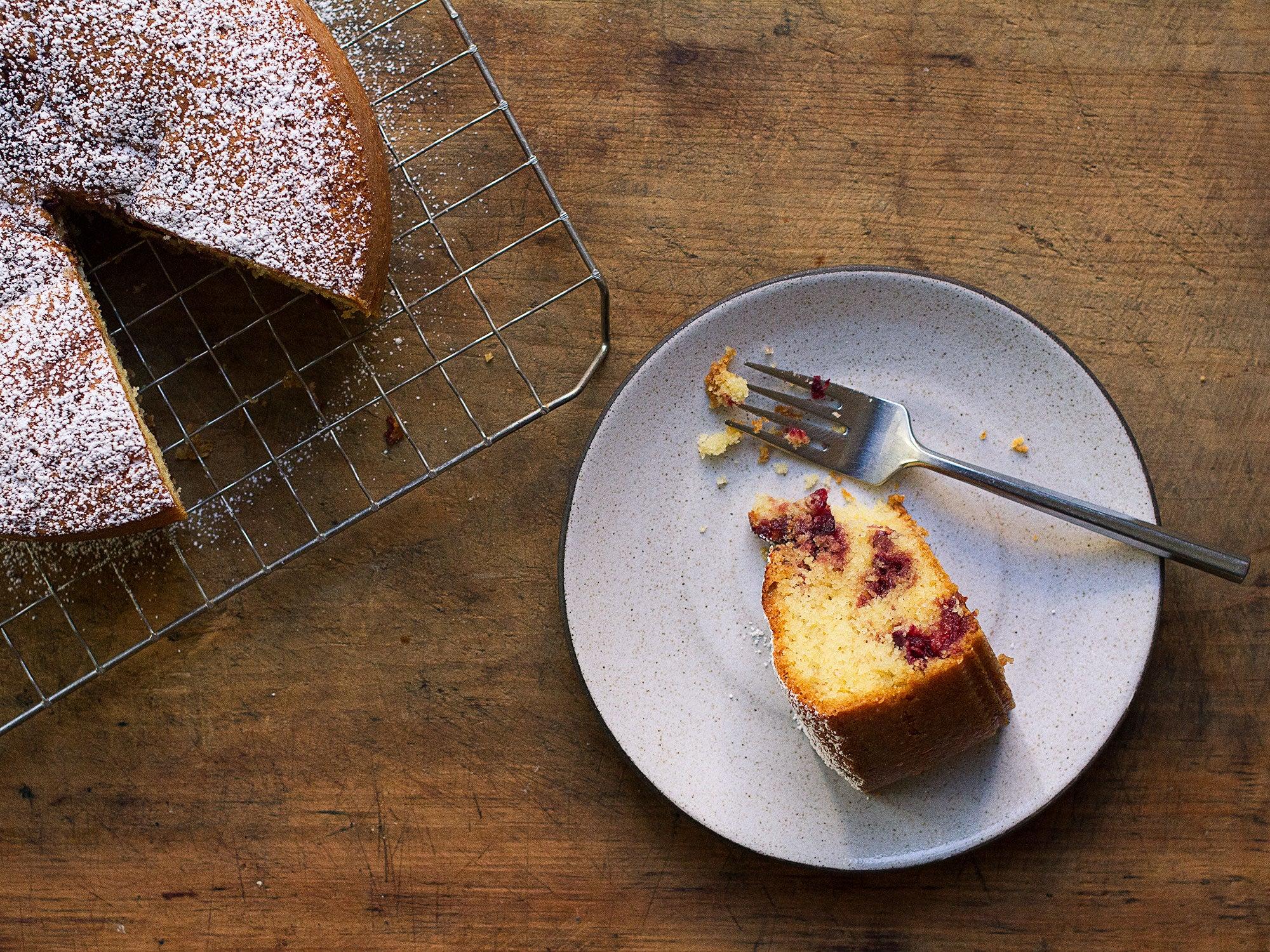 Cranberry Swirl Semolina Cake