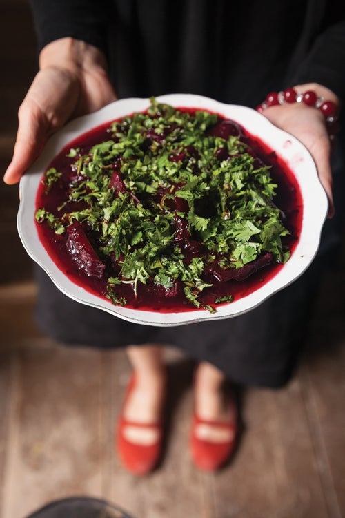 Beets in Tart Cherry Sauce (Charkhlis Chogi)
