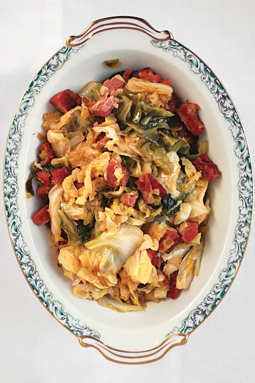 Braised Cabbage with Slab Bacon