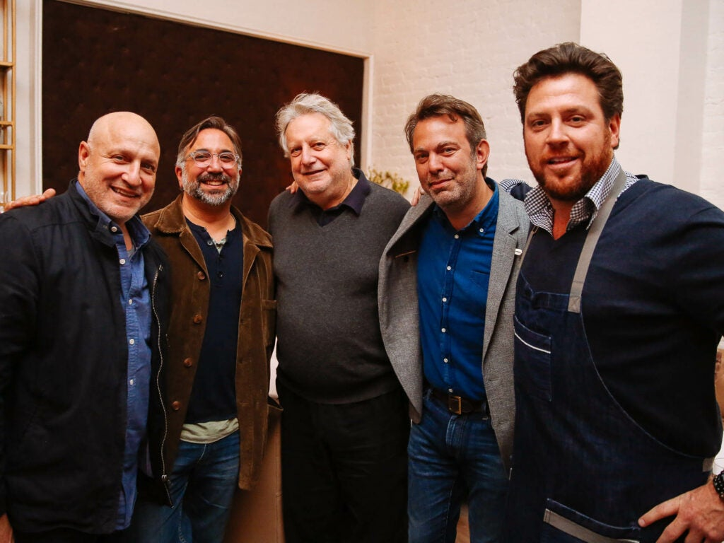 Chef Tom Colicchio, Chef Marco Canora, Chef Jonathan Waxman, Editor-in-Chief Adam Sachs, and Chef Scott Conant pose for a photo at the opening of Fusco.