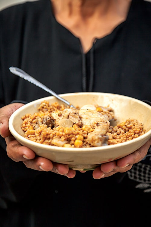 Palestinian Couscous with Chicken and Chickpeas (Maftoul)