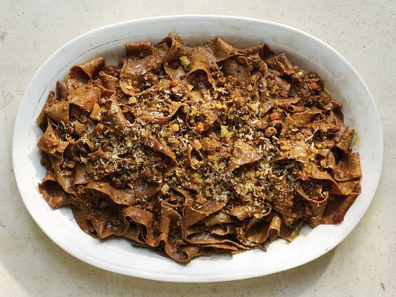 Blutnudeln with Blood Sausage Bolognese