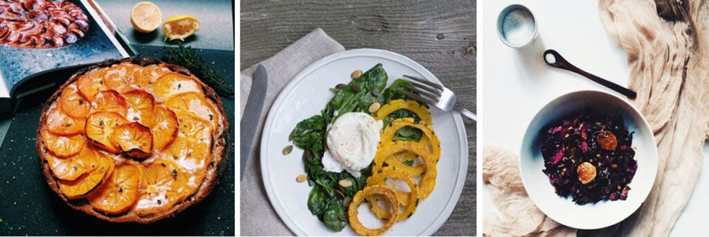 Curry roasted delicata squash, wilted spinach