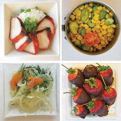 pork loin; summer succotash; chocolate-covered strawberries; fennel salad with grapefruit and orange segments