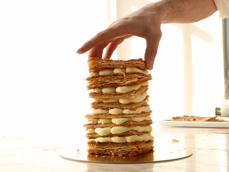 Video: Watch Dominique Ansel Build a Towering Mille-Feuille