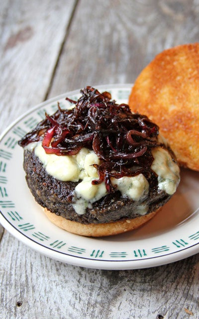 Portobello Burgers with Blue Cheese and Sauteed Red Onions