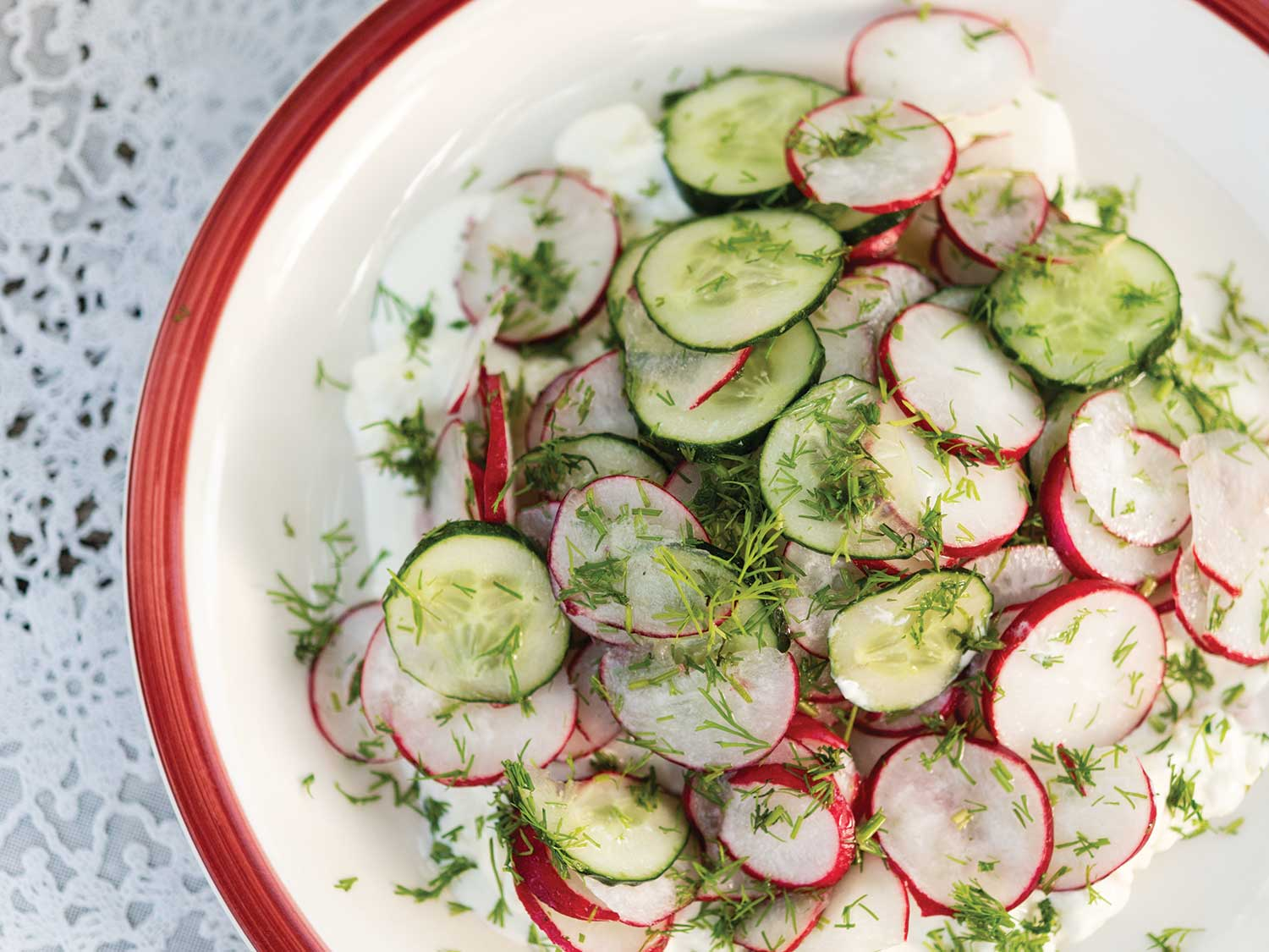 Cucumber and Radish Salad with Fresh Cheese