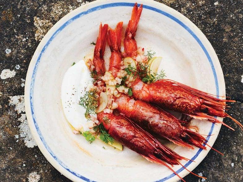 Shrimp Crudo with Creme Fraiche, Apple, Chard, and Shallot