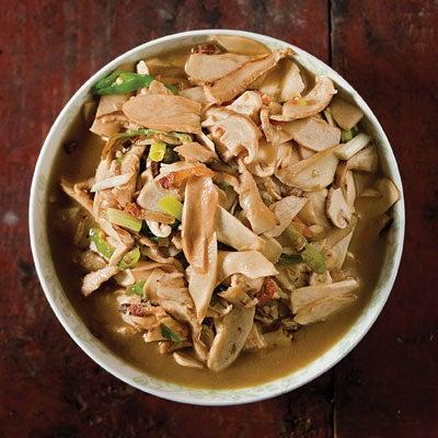 Stir-Fried Mushrooms with Bacon, Green Chiles, and Scallions (Xiachao Niugan Jun)