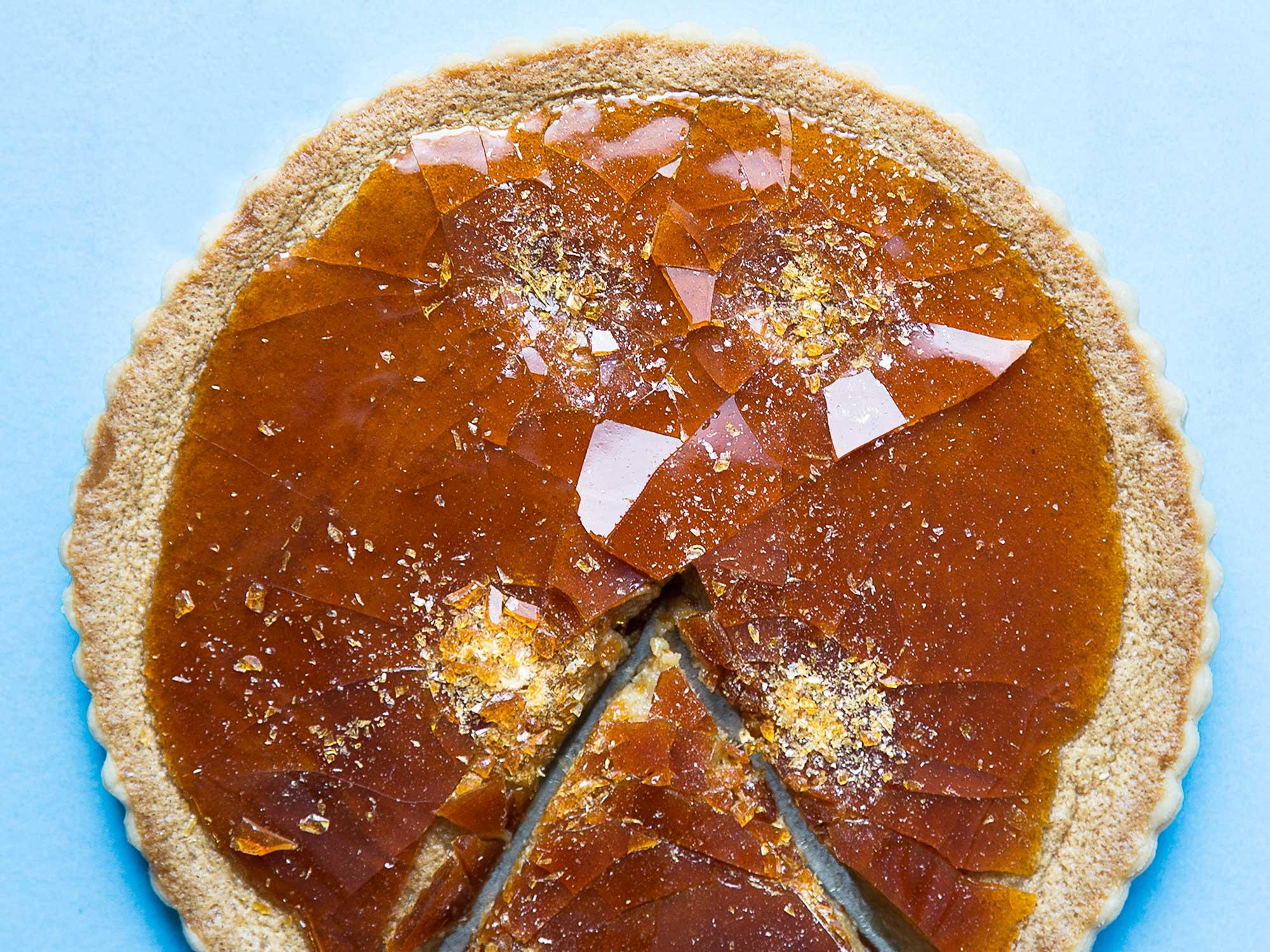 Butterscotch tart with cracked caramel