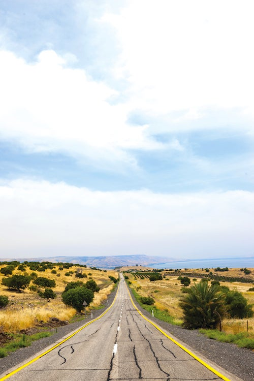 A stretch of highway along the Sea of Galilee in northern Israel