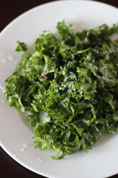 Raw Kale Salad with Lemon, Pecorino, and Currants