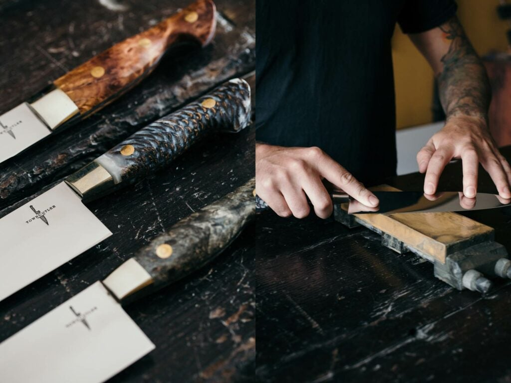 Burl Wood Handle Knife