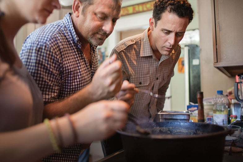 Chefs making a pot of roux