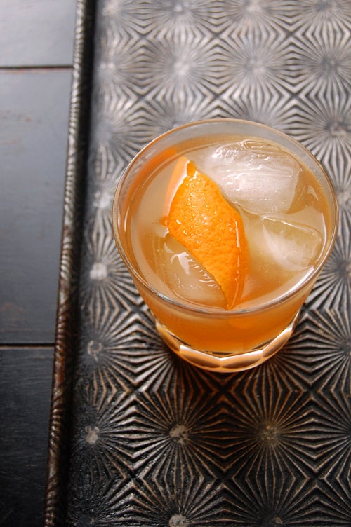 Maple rye sour cocktail