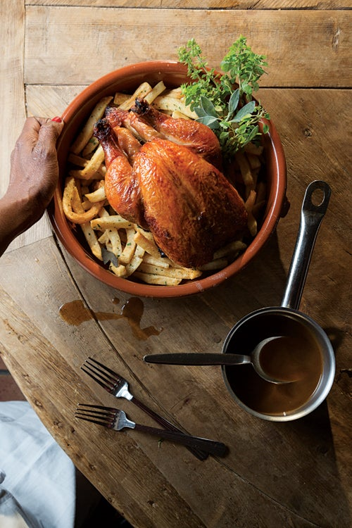Roast chicken with french fries