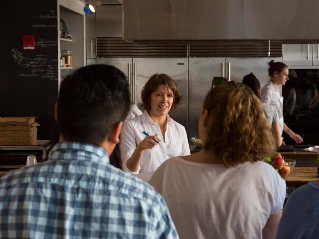 Test Kitchen Associate Director Kristy Mucci leads a recipe testing session with the bloggers