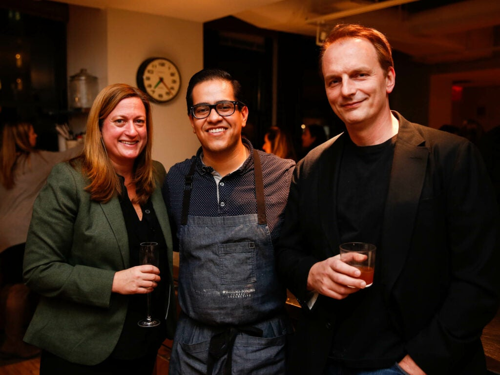 Chef Missy Robbins of Lilia, chef Michael Toscano, and restaurateur Andrew Carmellini