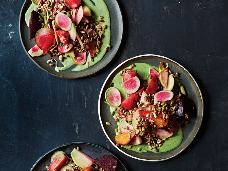 Sprouts, Kohlrabi, and Beet Salad with Herbed Crème Fraîche Dressing