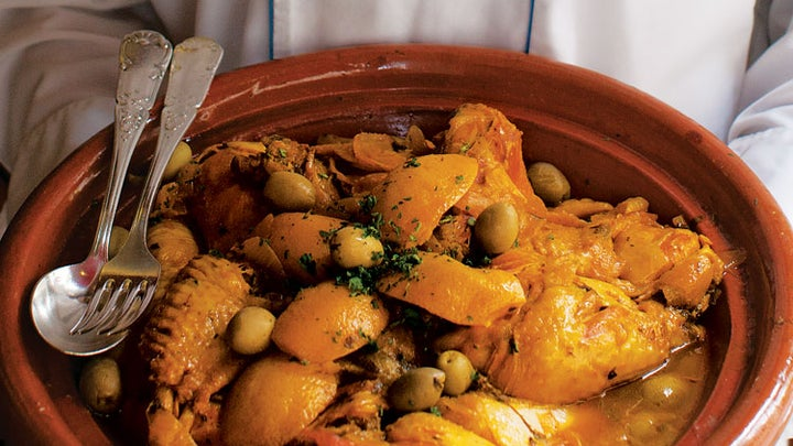 Chicken Tagine with Apricots, Figs, and Olives (Tagine Djaj Bzitoun)
