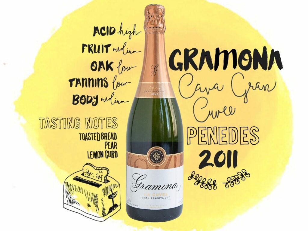 Gramona Cava Gran Cuvee, Penedes Spain 2011, wine illustrations