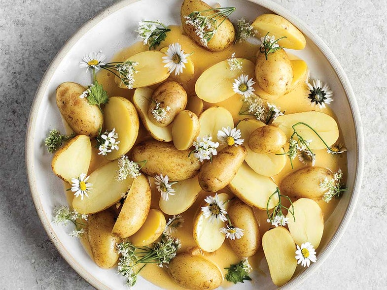 Chamomile-Pickled  New Potatoes with Beurre Blanc and Flowers